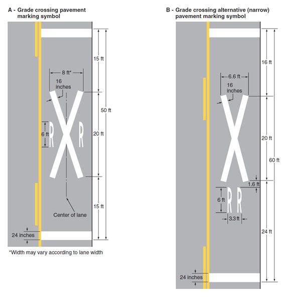 Fig. 620.2.28.2, Grade Crossing Pavement Markings (MUTCD 8B-7)  Note: Refer to Fig. 620.2.28.1 for placement.