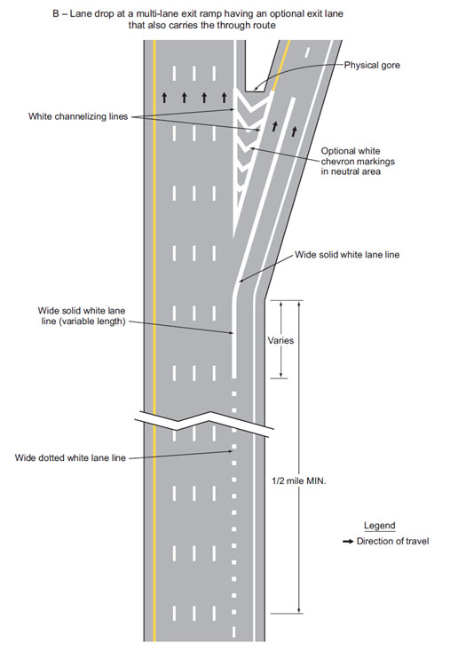 Fig. 620.2.5.6, Examples of Applications of Freeway and Expressway Lane-Drop Markings (Sheet 2 of 5 of MUTCD 3B-10)