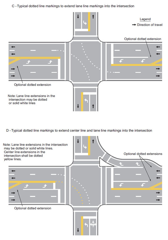 Fig. 620.2.8.2, Examples of Line Extensions through Intersections (Sheet 1 of 2, MUTCD 3B-13)