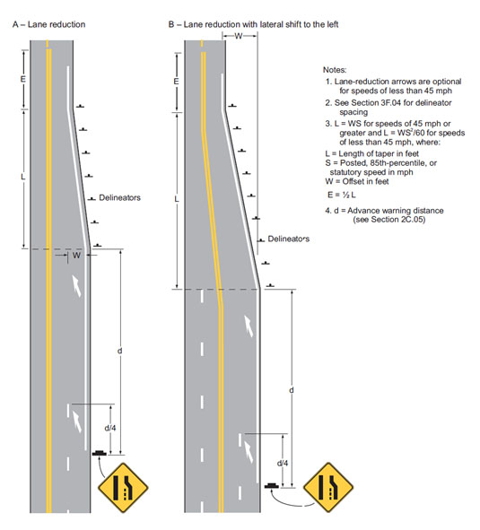 Fig. 620.2.9.1, Examples of Applications of Lane-Reduction Transition Marking (MUTCD 3B-14)