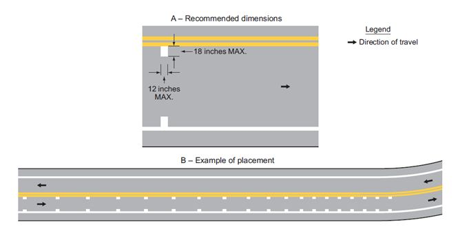 Fig. 620.2.22, Example of the Application of Speed Reduction Markings (MUTCD 3B-28)