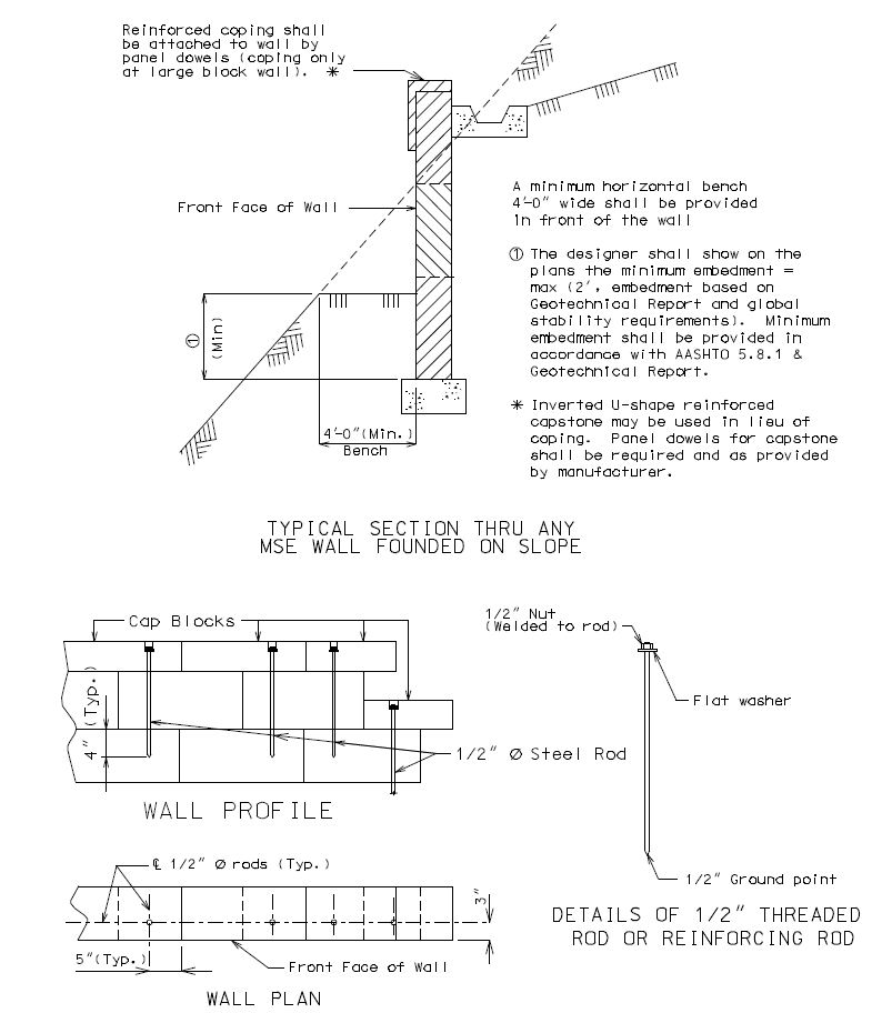 "Fig. 751.24.2.2 Capstone Anchor Details    Notes: Holes are 5/8"" round, extend 4"" into the third layer of blocks, recessed 2"" deep by 1-1/2"" round.    Rods or reinforcing bars are secured by an approved resin anchor system in accordance with Sec 1039.    Recess hole to be backfilled with non-shrink cement grout."