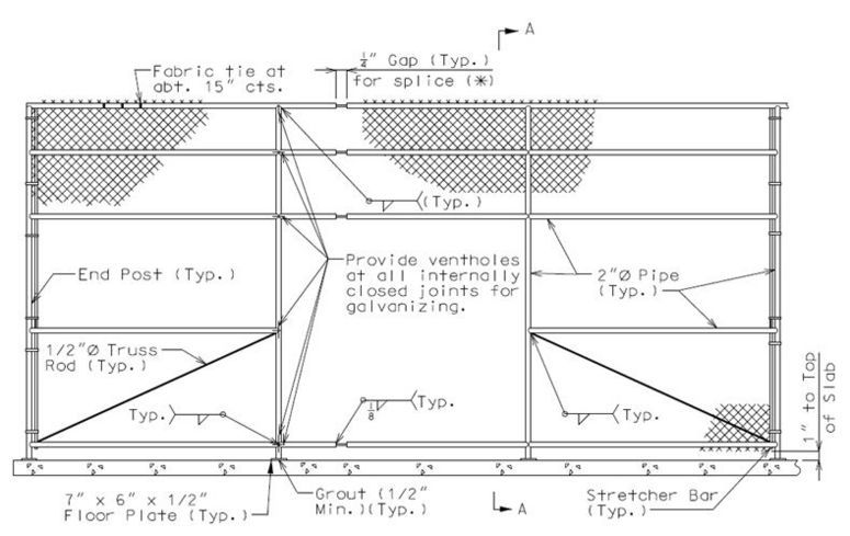 Chain Link Fence Drawing 751.12 protective barriers - engineering policy guide
