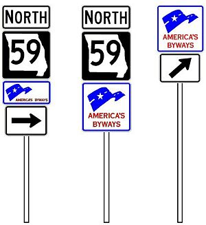 Fig. 903.7.51, Examples of Use of the National Scenic Byways Sign
