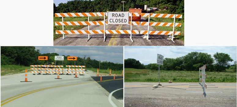 The correct use of the Road Closed sign is to either mount it on the barricade or place a sign behind the barricade.  If a sign stand and barricades are used separately, the sign and barricades should have a distance of 7 ft. to 10 ft. apart.