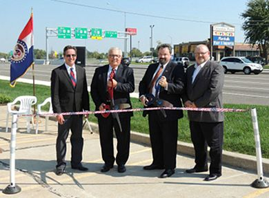 Sen. Kurt Schaeffer, Boone County Commissioner Dan Atwill, Columbia City Manager Mike Matthes and District Engineer David Silvester cut the ribbon on the Rte. 740 (Stadium Blvd.) expansion project in Columbia.  This project is central Missouri's first diverging diamond interchange.