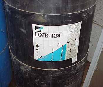 Drum properly labeled and stored in secondary containment.  Need to protect the labels