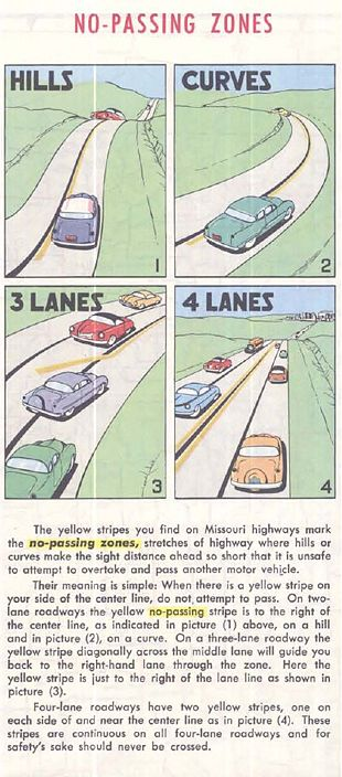 Pavement marking info from the Missouri Highway Department's 1957 roadmap