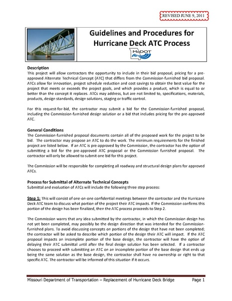 Guidelines and Procedures for Hurricane Deck ATC Process