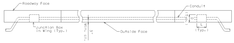 Part Plan of Safety Barrier Curb Showing Delineated Conduit System Placement Only (Use where Junction Box is in wing only) Note: Single conduit shown, multiple conduits similar. Expansion fittings not shown for clarity. Drawing is not to scale.