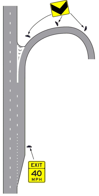 Fig. 903.6.36 Example of Advisory Speed Signing for an Exit Ramp