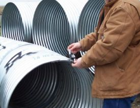 Metal pipe is inspected for quality and workmanship. Deviations from MoDOT specifications can keep a supplier from supplying material to MoDOT.