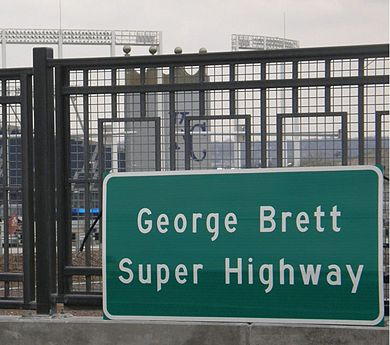 The World Series comes to Kansas City via the  George Brett Super Highway as it passes by the home of the Royals, Kauffman Stadium.