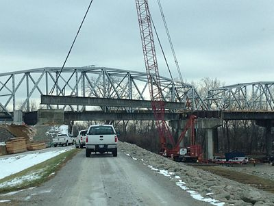 New girders are delivered for the new U.S. 69 bridge over the Missouri River at Riverside, MO.  The new bridge will be open to traffic in December.