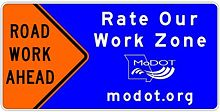 72 in. x 36. in. RATE OUR WORK ZONE sign