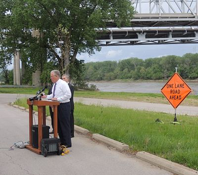Gov. Jay Nixon used the recently closed 66-year-old northbound Route 291 Bridge as a backdrop to speak about the need for transportation funding and the future of Missouri roads and bridges. He mentioned a proposed fuel tax, the possibility of a toll road and encouraged Missourians to reach out to their legislators.