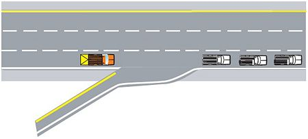 When entering a multilane highway during high traffic situations, it might be necessary to have a TMA truck positioned so that work vehicles can move in front of the TMA truck.