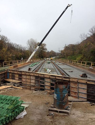 Lehman Construction, LLC crews will be pouring Rte. 79's Big Calumet Creek Bridge deck in Pike County. After receiving a new deck, approach pavements and a barrier wall will be added. The bridge is planned to reopen by December 1st.