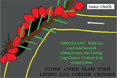 Large stones (red) are first placed along the toe of the eroded slope to protect the toe. Then a living willow or cottonwood log is placed horizontally in front of the stones and keyed into the bank.The root wad is downstream to keep the log in compression. Large stones are placed on top of the log to keep it in place and the log is allowed to sprout and root to protect stream and bank.