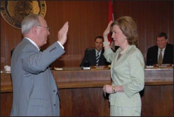 Rudolph Farber is sworn into the Commission by Missouri Supreme Court Judge Mary Russell