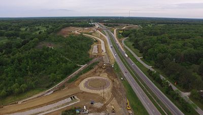 The new I-70 interchange at Warrenton will include three roundabouts. The $8.5 million project is expected to be completed this fall.