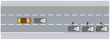 The protective vehicle/TMA truck should be the first vehicle to get to the desired lane and then allow all other work vehicles to enter the desired lane.