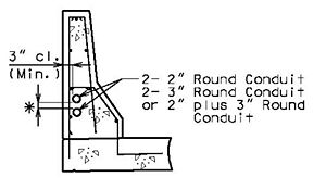 "Section of Multiple Conduits in Safety Barrier Curb* 1"" (Min.) cl. preferred."