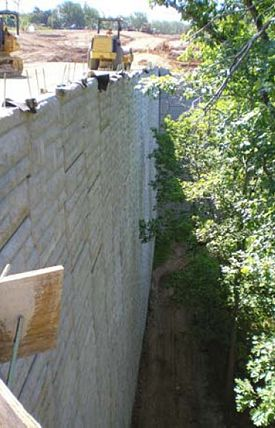 A 55 ft. tall retaining wall