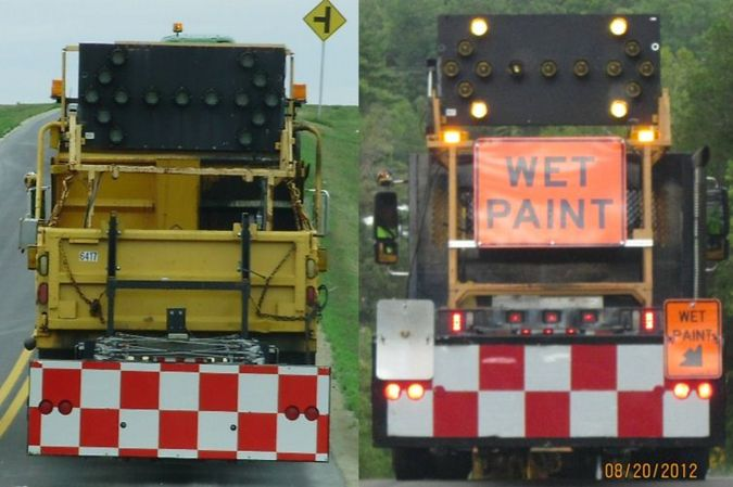 Two examples of MoDOT Maitenance truck attenuator marking