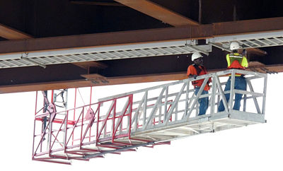 Work on a new bridge's cable tray, which helps carries utilities