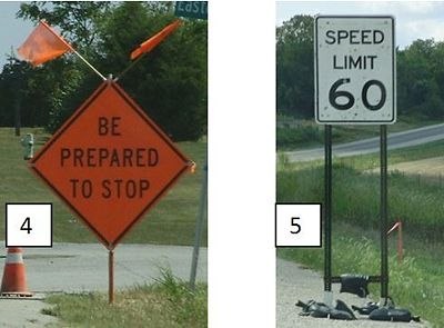 Picture 4: Self-driving post. Picture5: Skid-mounted sign